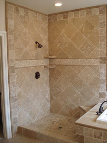 Showers Travertine Shower Shower Remodel Patterned Bathroom Tiles
