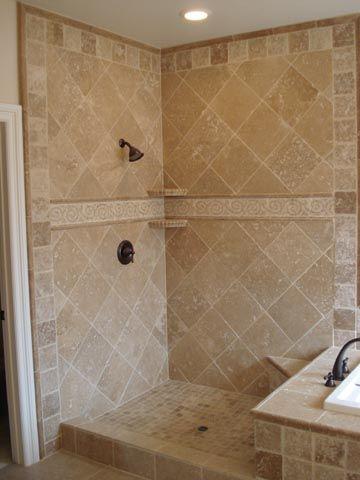 Travertine Tile Shower Design Could Use In Tub Shower Combo Tile
