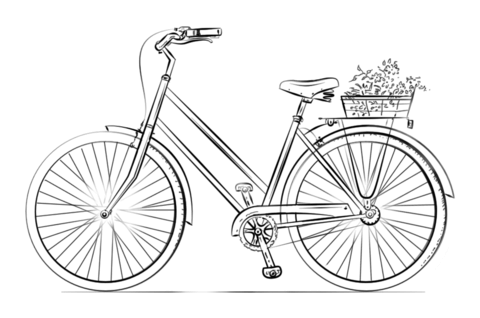 Bicycle With Flower Basket Coloring Page From Bicycles Category