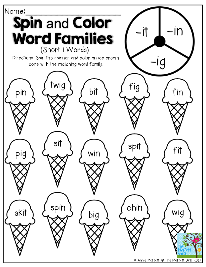Spin and Color Word Families- Fun activity for beginning