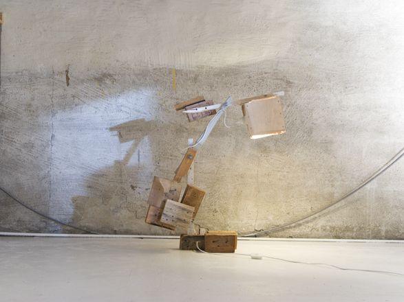 """wood trash lamp"""