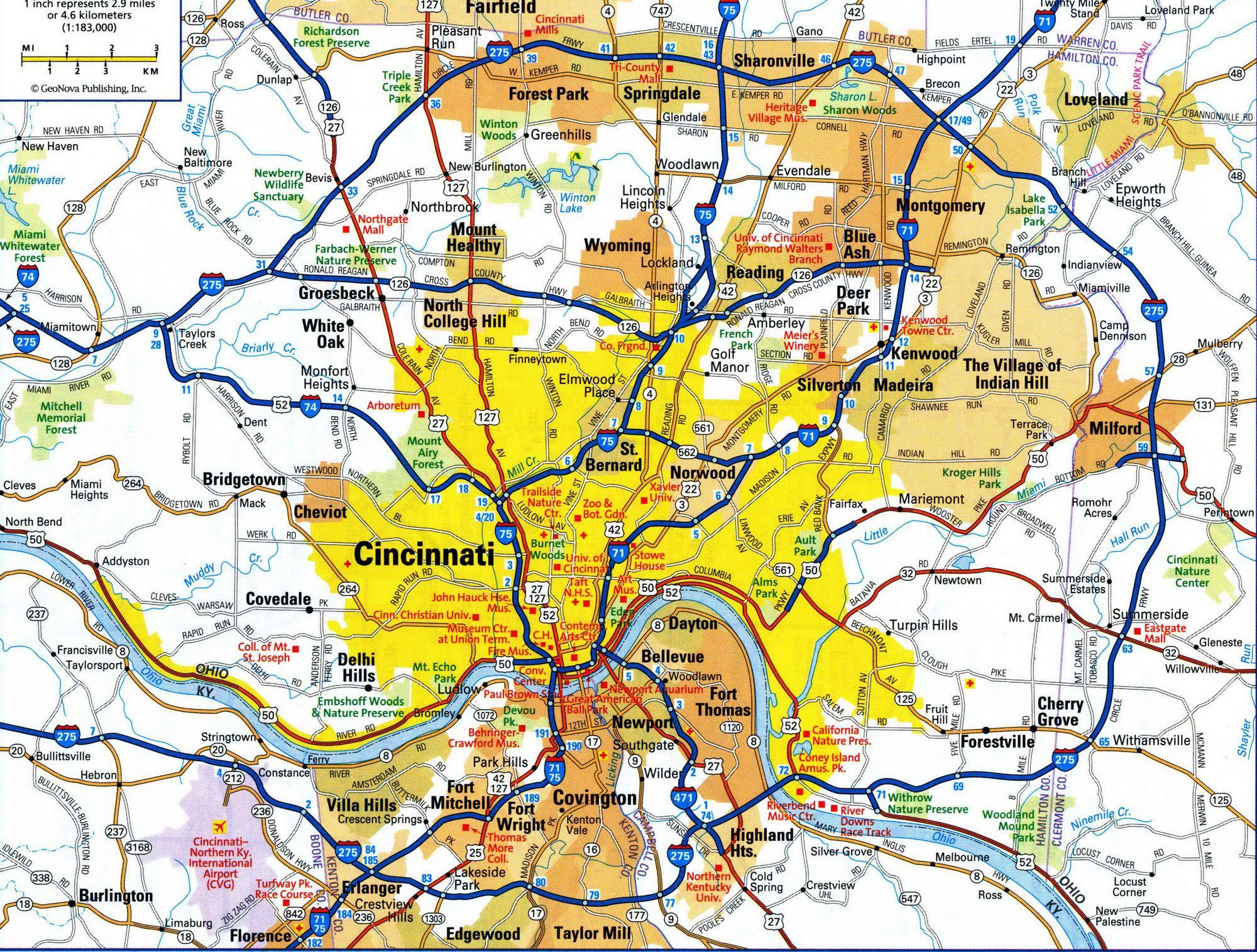Cincinnati On Us Map Highways and roads map of CincinnatiFree maps of US. | Map