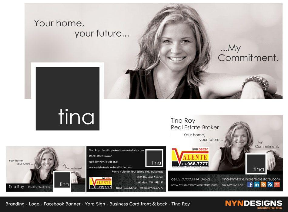 Facebook banner logo business cards front back tina