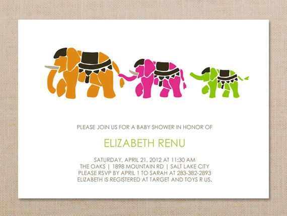 Indian Elephant Invitation Baby Shower Invitation Baby Shower