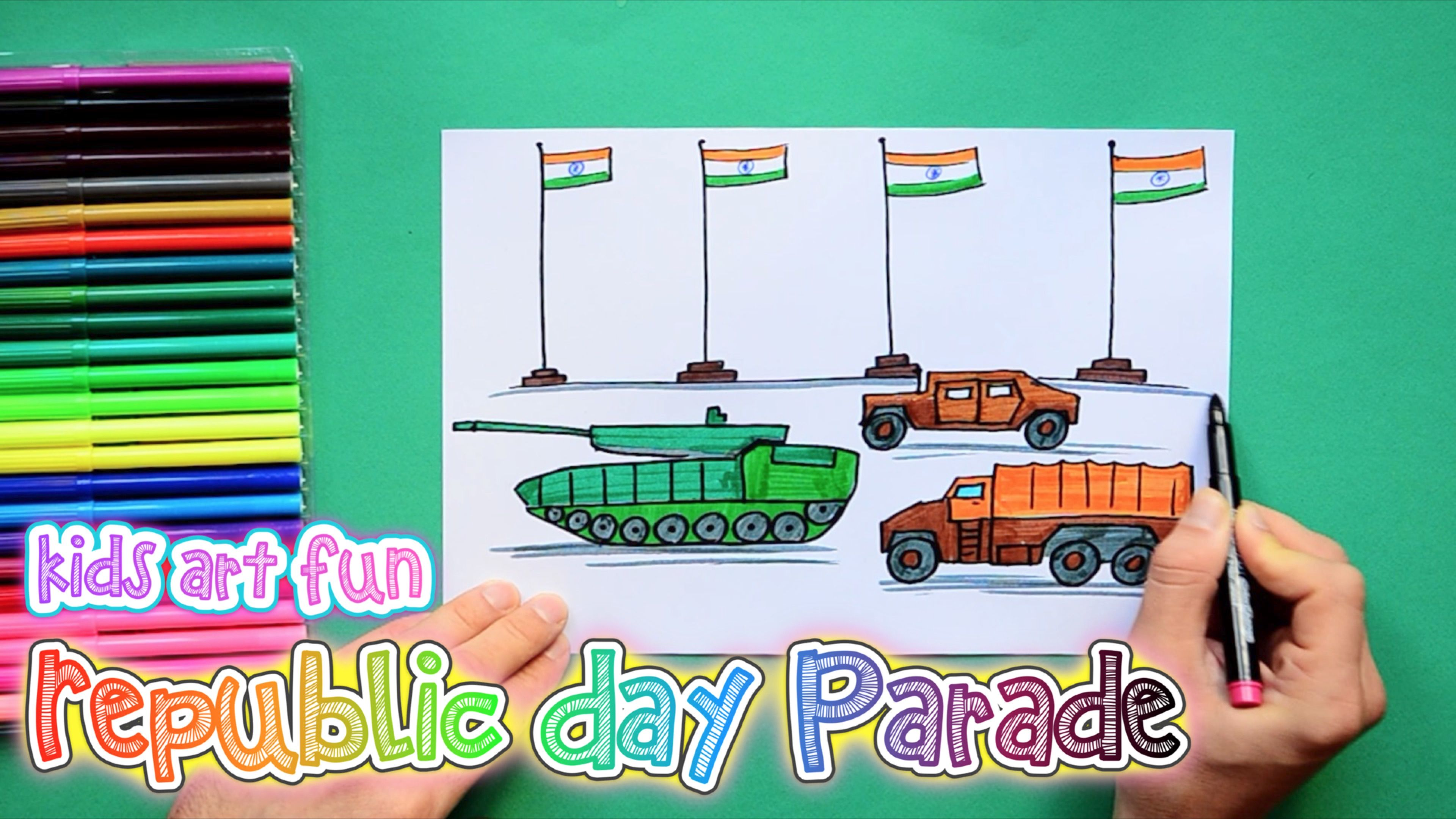 How to draw and color India's Republic Day Parade Scene ...