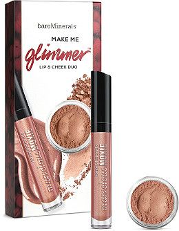 bareMinerals Make Me Glimmer  Lip & Cheek Duo kisses your lips and cheeks with just a glimmer of shimmer, leaving you with an incandescent glow that shines for all the seasons.