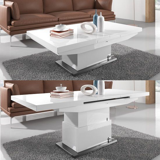 Elgin Extendable Coffee Converting Dining Table In White Glo