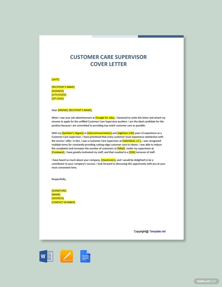 Customer Care Supervisor Cover Letter Template Free Pdf Google Docs Word Template Net Cover Letter Template Free Cover Letter Template Lettering