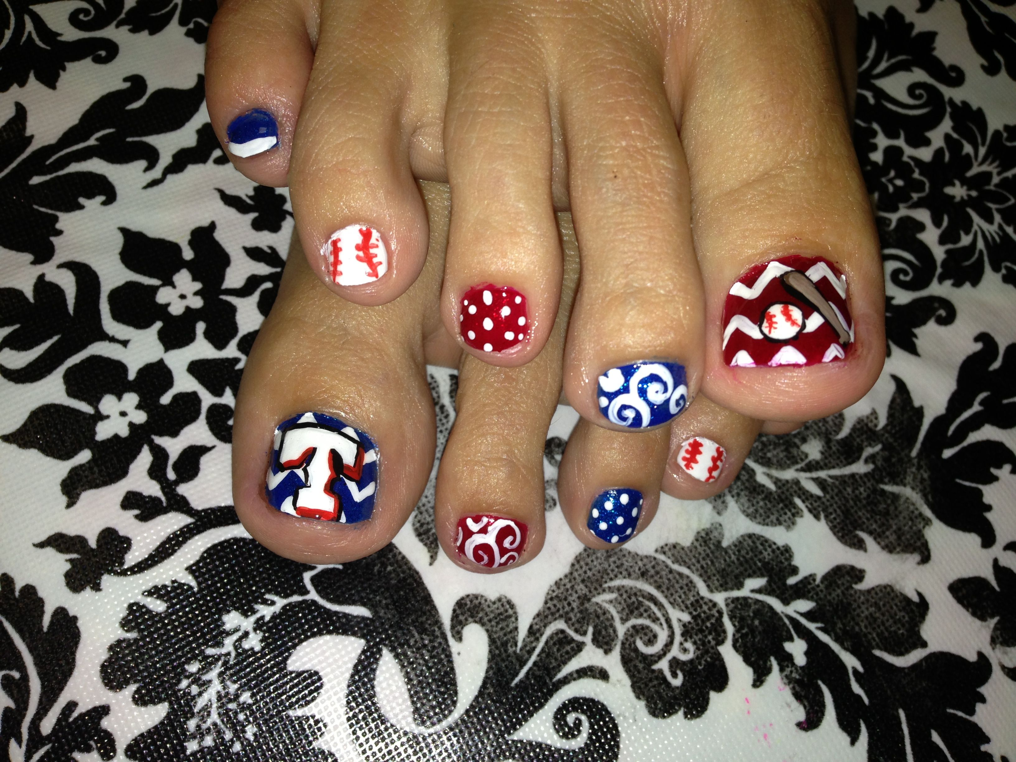 Texas Rangers Nail Art My Could Do This So Much Better