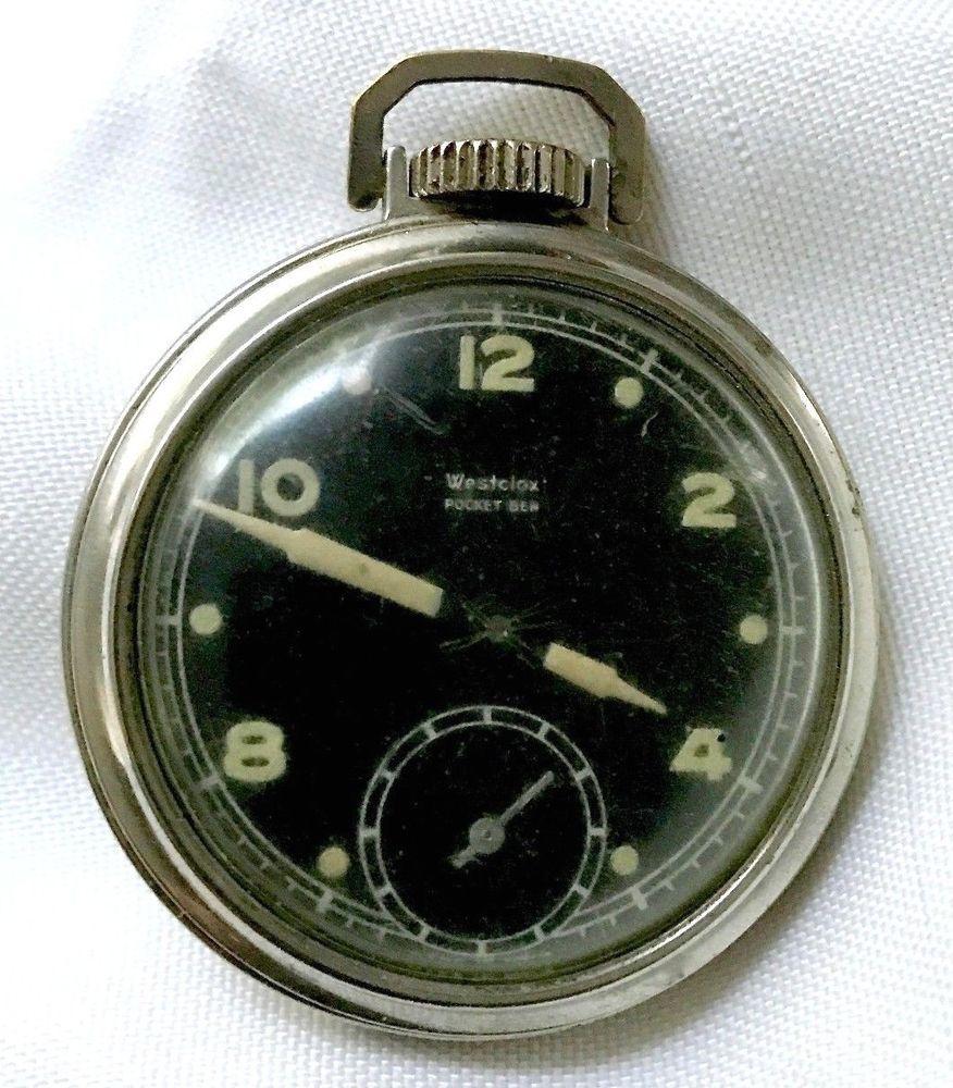 1da7f6ddf Vintage Radium Westclox Pocket Ben Pocket Watch Radioactive Black Sub Dial  Works #Westclox