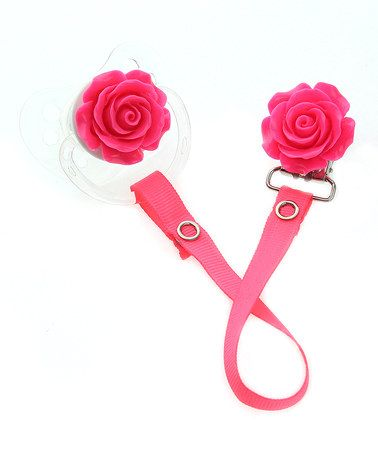 Love this Pink Flower Orthodontic Pacifier & Matching Clip Set on #zulily! #zulilyfinds