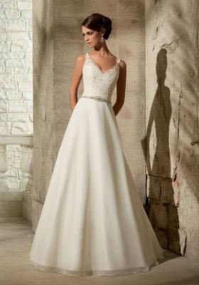 Mori Lee Chiffon Size 2 Used Wedding Dress Front View On Model