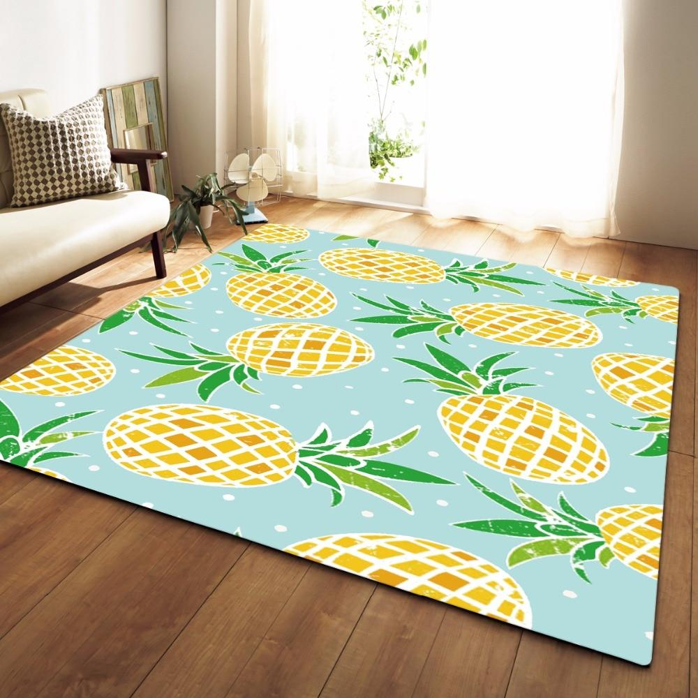 Teal Pineapple Print Area Rug Floor Mat Pineapple Room Decor Floor Rugs Pineapple Decor Bedroom