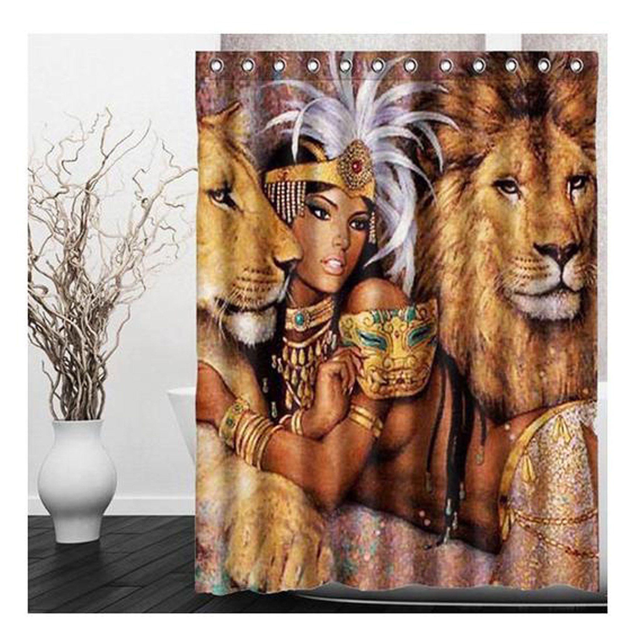 Eco Friendly Gorgeous Lion Goddess Shower Curtain Bathroom