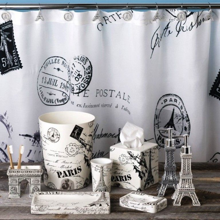 Delightful Paris Shower Curtain And Accessories
