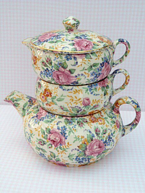 James Kent Tea for one, 'Rosalynde'. (Oh how I wish...though I did get to see a Rosalynde teapot once at an antique expo...for $495.00...a wee bit above my purse...still I got to see one. I have a dinner plate and a teacup and saucer dm)