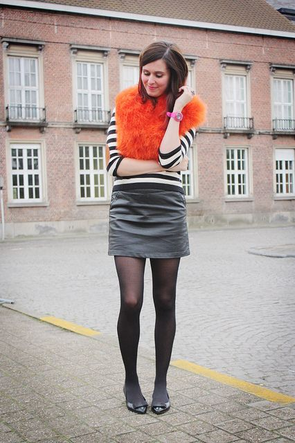 60s mod stripes, mini skirt and flats