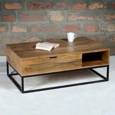 Suri Industrial Modern Coffee Table With Storage In Mango Wood Metal Detail Furniture123 Coffee Table Wood Modern Industrial Coffee Table Coffee Table