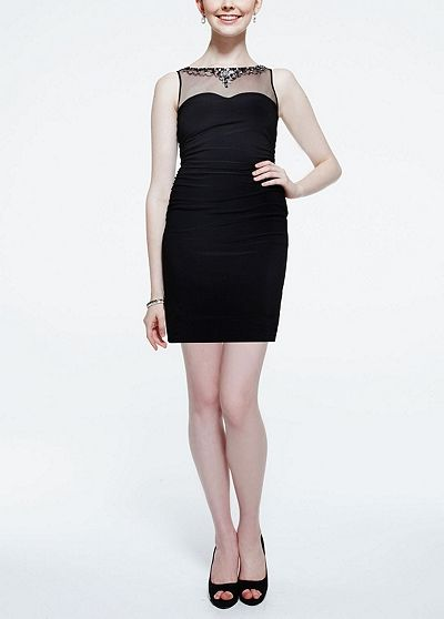 Sleevless Jersey Dress with Beaded Illusion Neck 211S41550