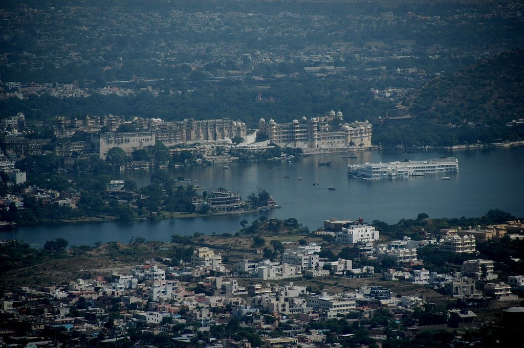 City and Lake Palaces, Udaipur from Monsoon Palace City