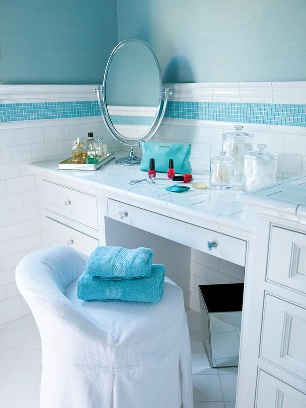 White Tiled Bathroom Vanity with Tiffany Blue Accent Tile, Blue ...