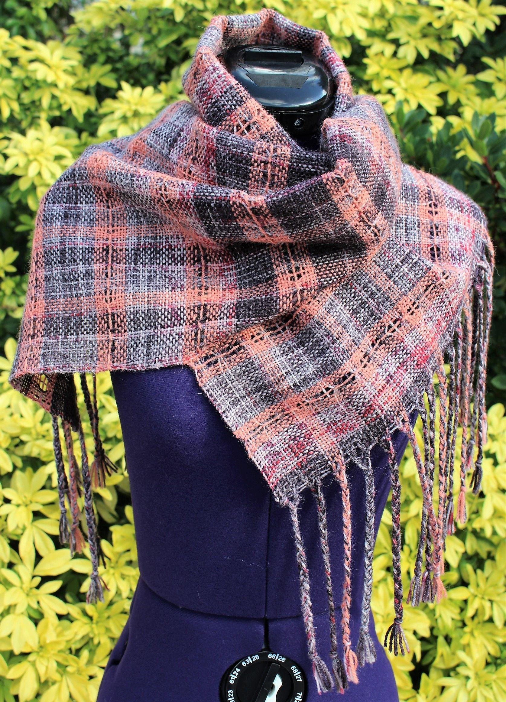 c8f208f6276a Écharpe tissée en laine, étole fait main, écharpe tour de cou, châle  foulard ajouré, chèche à franges, cape laine alpaga marron gris beige rouge  pêche ...