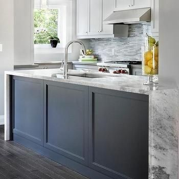Dark Blue Kitchen Island Wainscoting | Kitchen Cabinets | Pinterest ...