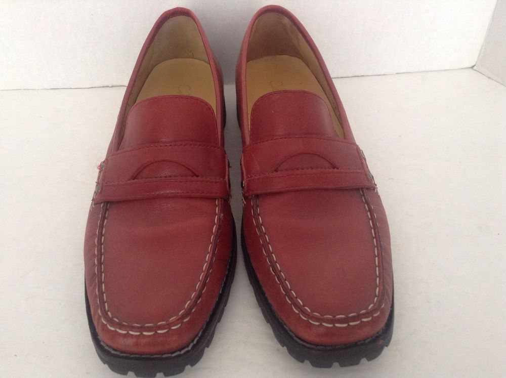 Women's Cole Haan Brown Leather Slip On Penny Loafers Size 9AA Free Shipping #ColeHaan #LoafersMoccasins