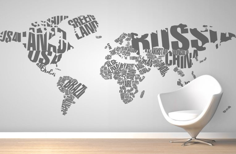 Our Worded World Map Wall Mural is a clever little number that sees