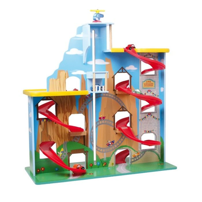 Garaje para coches de madera de juguete con rampas de - Garaje de coches ...