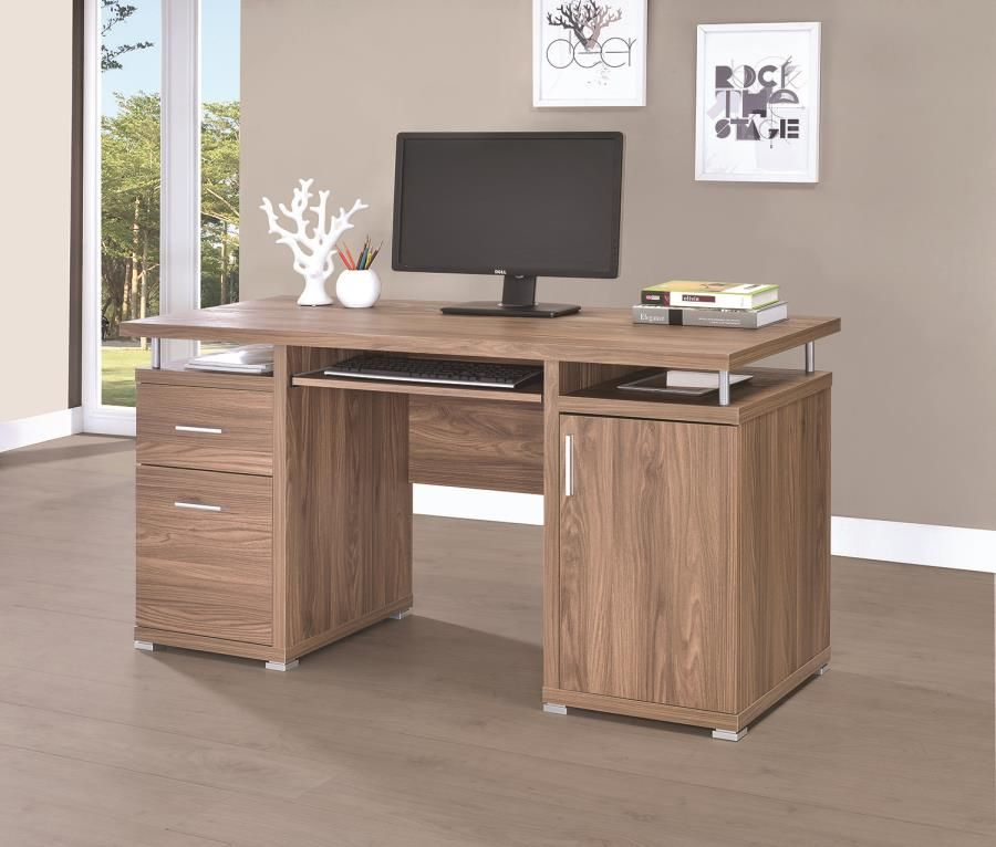 Coaster 801280 Elm Finish Office Desk With File Cabinet Office Desk Wooden Office Desk Desk