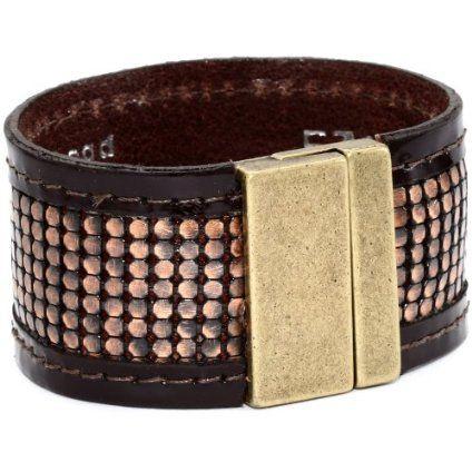 Streets Ahead Merlot Patent Leather Detail Copper Mesh Cuff Bracelet