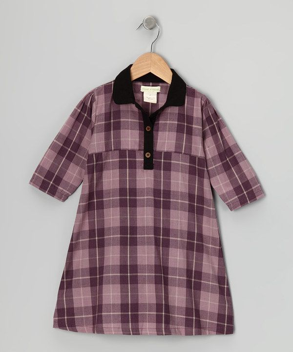 Take a look at this Purple Plaid Organic Shirt Dress - Infant on zulily today!