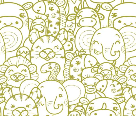 Wild Animals - Green fabric by oksancia on Spoonflower - wallpaper