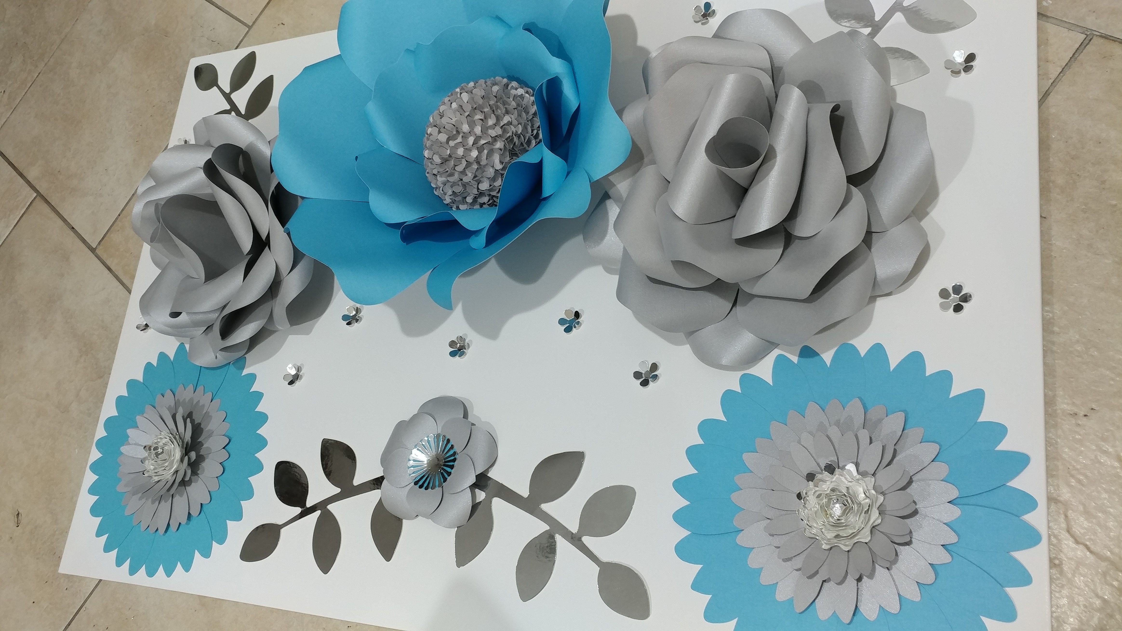 Blue Gray And Silver Paper Flowers On Canvas For Home Or
