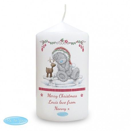 Me To You Reindeer Candle.  Personalise the front of this 'Me To You' Reindeer Design Candle with a message over 3 lines up to 15 characters per line.  The Candle is presented in an organza bag. Approximately 58 hours burn time.  Purchase from www.photo-lite.co.uk
