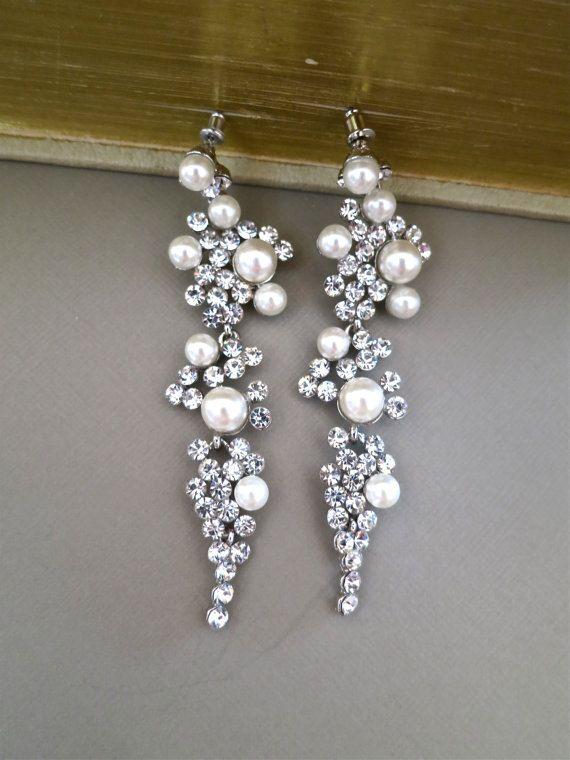 Bridal Chandelier Earrings Rhinestone, Bridal Chandelier Earrings With Pearls