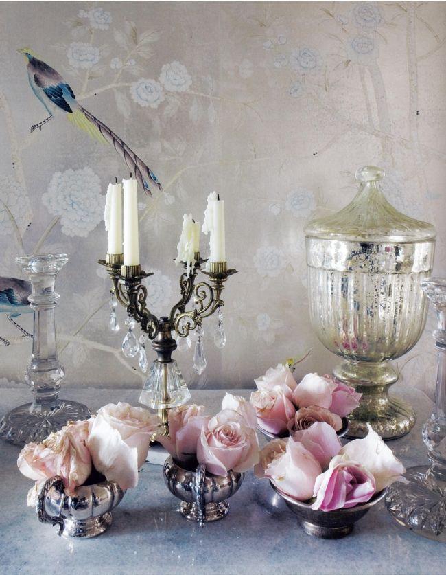 Shabby Chic Tischdeko Silbern Rosen Kerzenständer