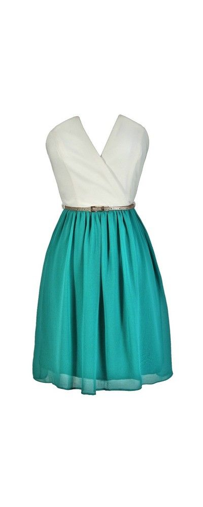 Tulip Garden Strapless Belted Dress in Ivory/Jade  www.lilyboutique.com