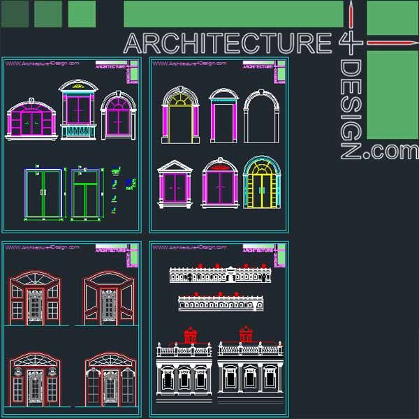 Classical Architecture Style Facades Parts For Autocad Dwg File