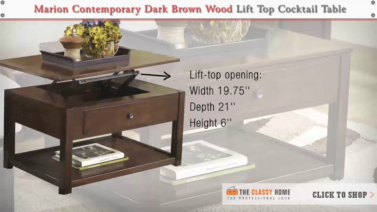 Stupendous Ashley Marion Contemporary Dark Brown Wood Lift Top Cocktail Creativecarmelina Interior Chair Design Creativecarmelinacom