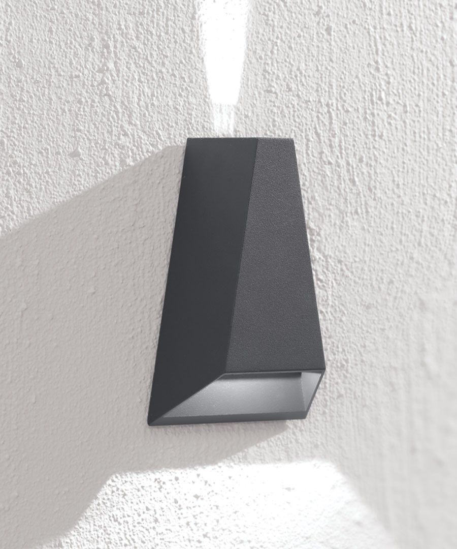 LEDlux Vice 6W Triangle Up/Down Exterior Wall Bracket in Charcoal ...