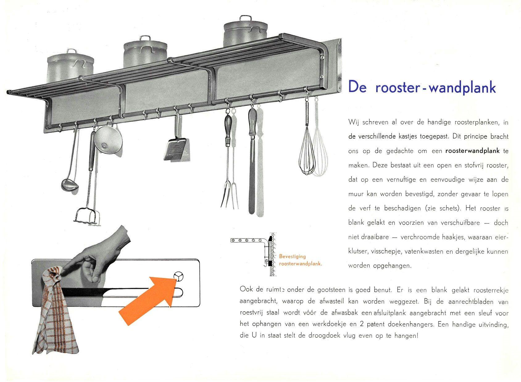 Piet Zwart Ontwerpt Veel Accessoires Die Het Dagelijks Leven In En Om De Keuken Een Stuk Vereenvoudigen Zo Ook De Roo Pannenrek Jaren 50 Keuken Zwarte Keukens