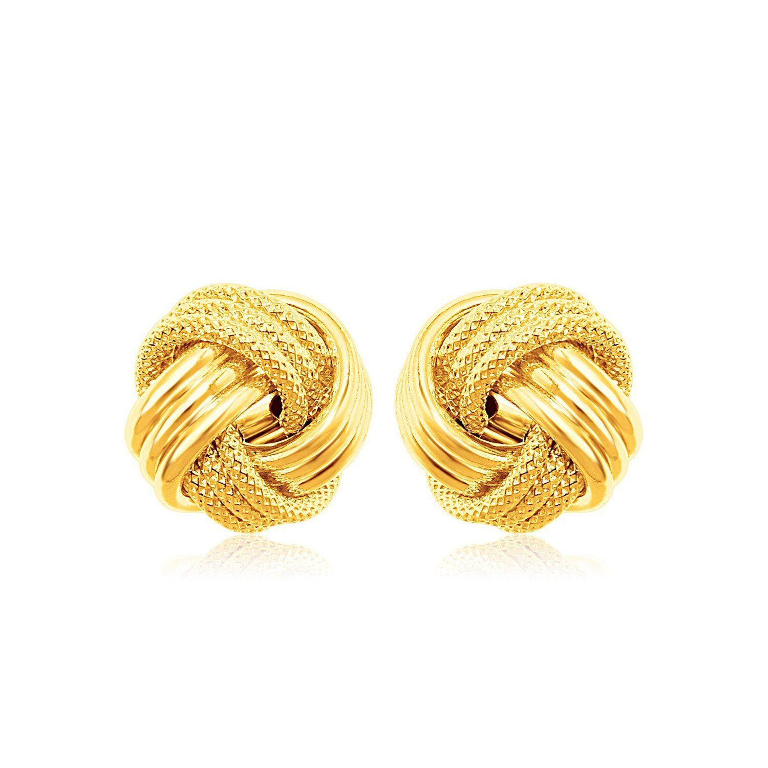 81471c463 14k Yellow Gold Love Knot with Ridge Texture Earrings | Love Knot Jewelry |  Jewelry knots, Earrings, Jewelry