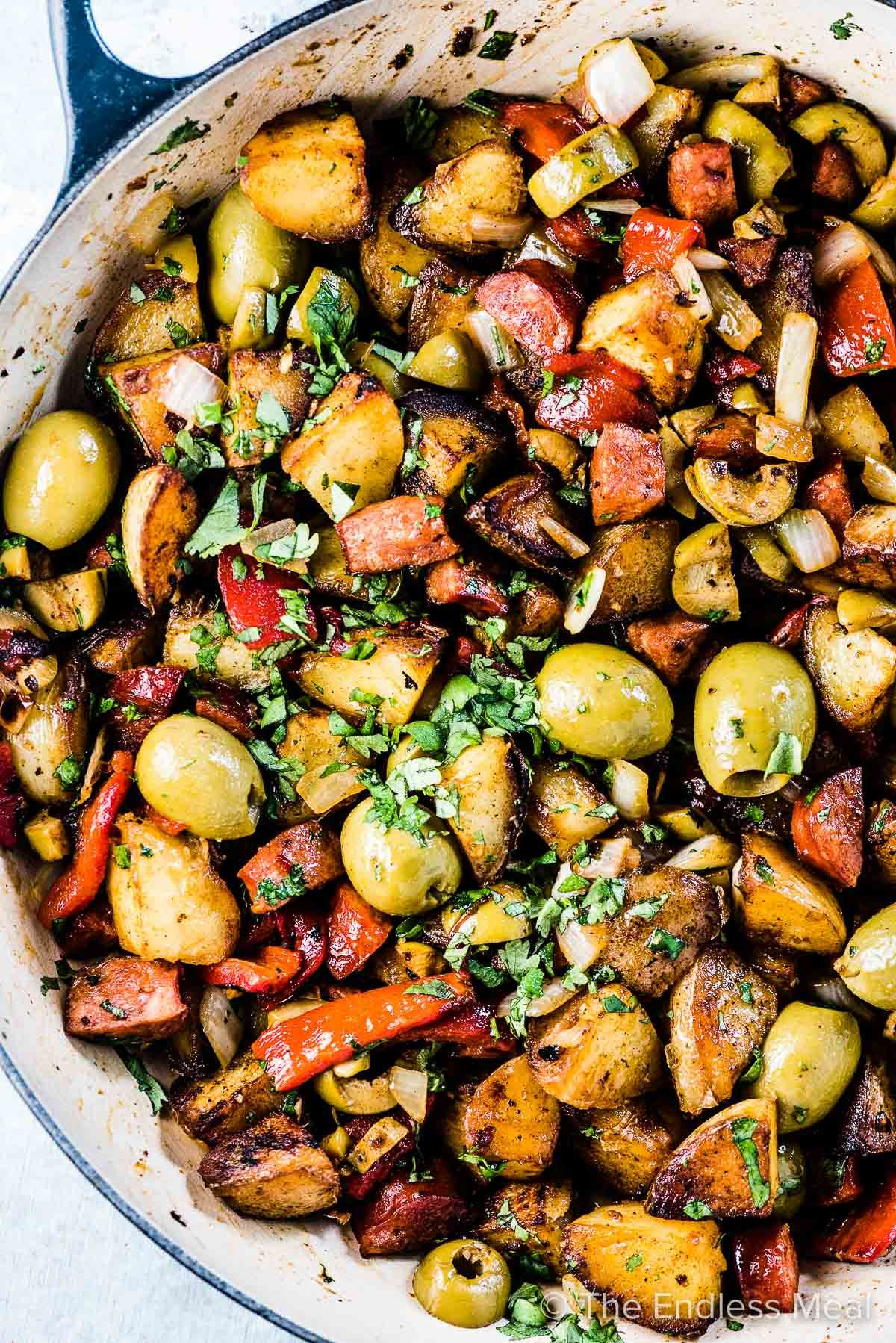 Spanish Breakfast Potatoes with Gordal Olives from Spain