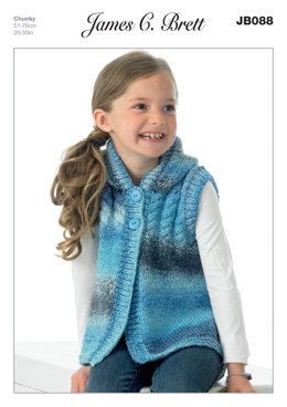 6102aec9519a Girl s Hooded Sweater in James C. Brett Marble Chunky - JB088 ...