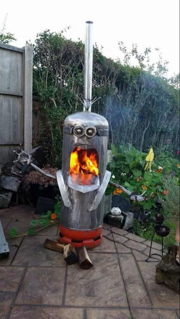 The character Minion in barbecue Gas bottle wood burner