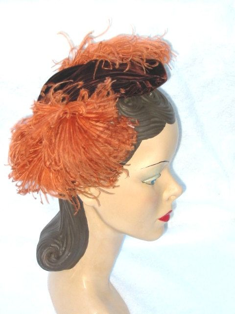 40 s 50 s Vintage Hat Fascinator with Orange by MyVintageHatShop ... 82f9d78fb66