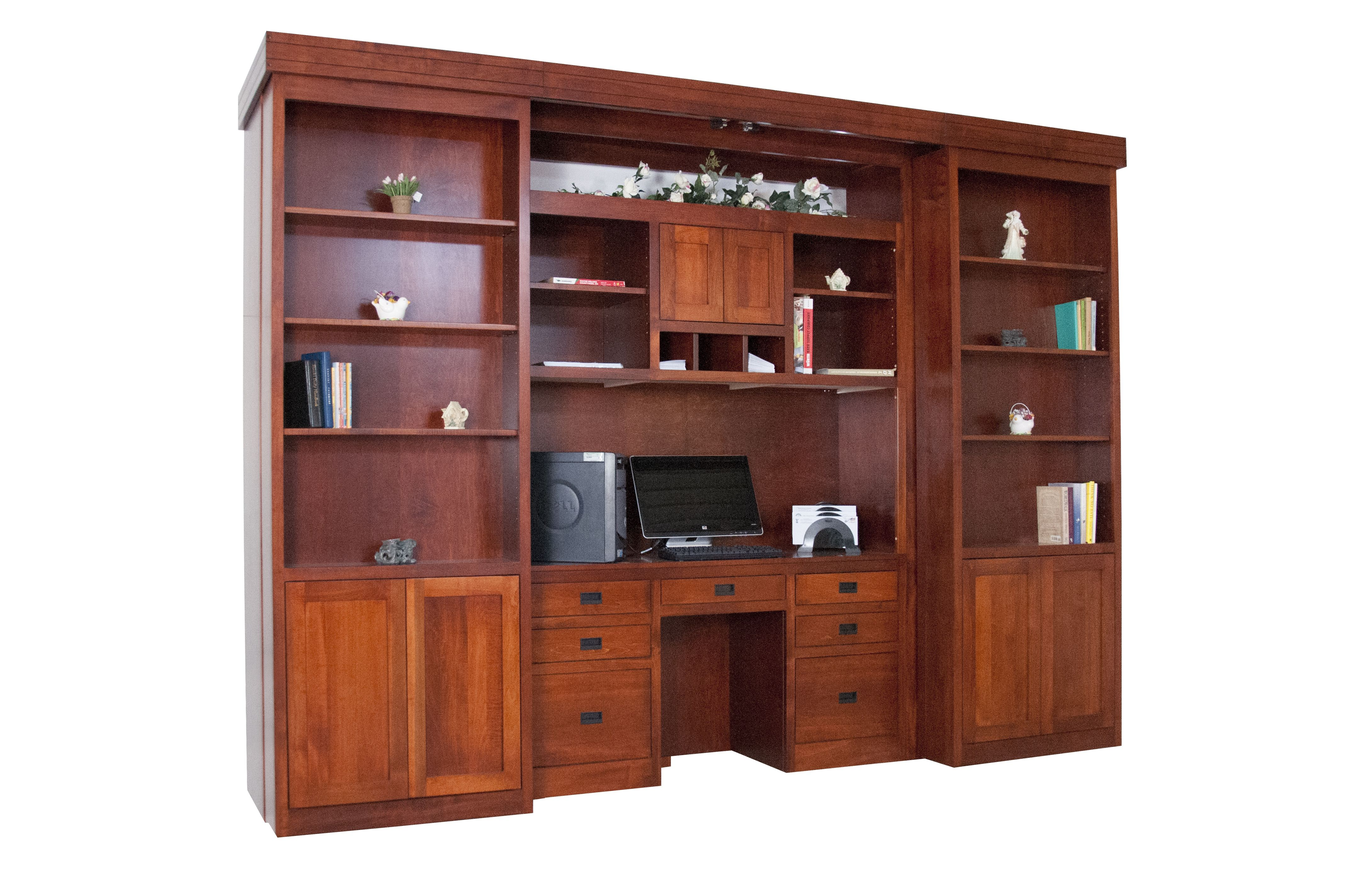 A hideaway office/media center(open). It's out Library