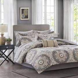 Madison Park Essentials Serenity Queen Complete Comforter & Cotton Sheet Set in Taupe - Olliix MPE10-152